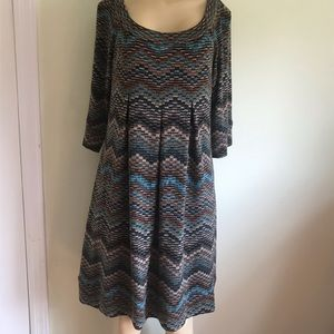 AGB 👗👗soft knit chevron print 3/4 sleeve's dress